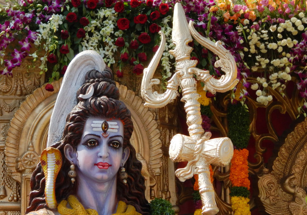 Lord Shiva idol in front of Hindu temple for the people to offer puja on the Hanuman Jayanti day in Hyderabad,India.
