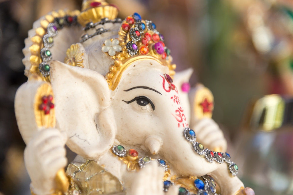 Ganesh ,elephant god, figure closeup focused on face