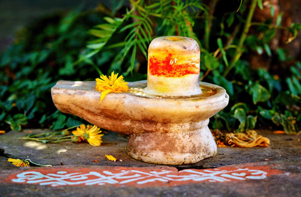 Marble Shiva lingam - symbol of male god sexual power.