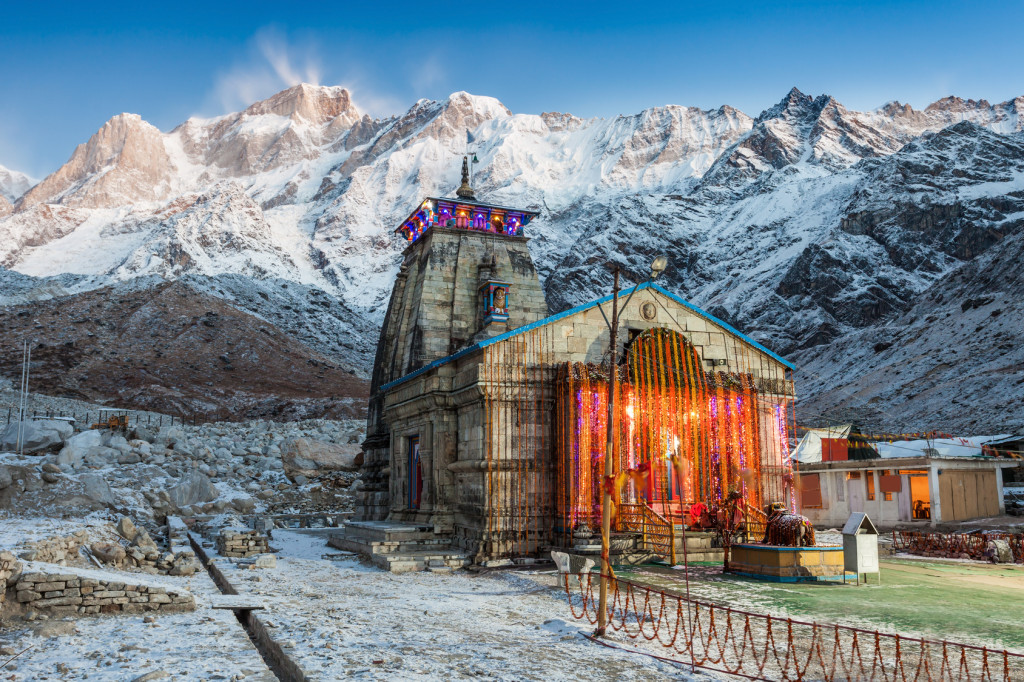 Kedarnath Temple before sunrise, it is a Hindu temple dedicated to Shiva, India.