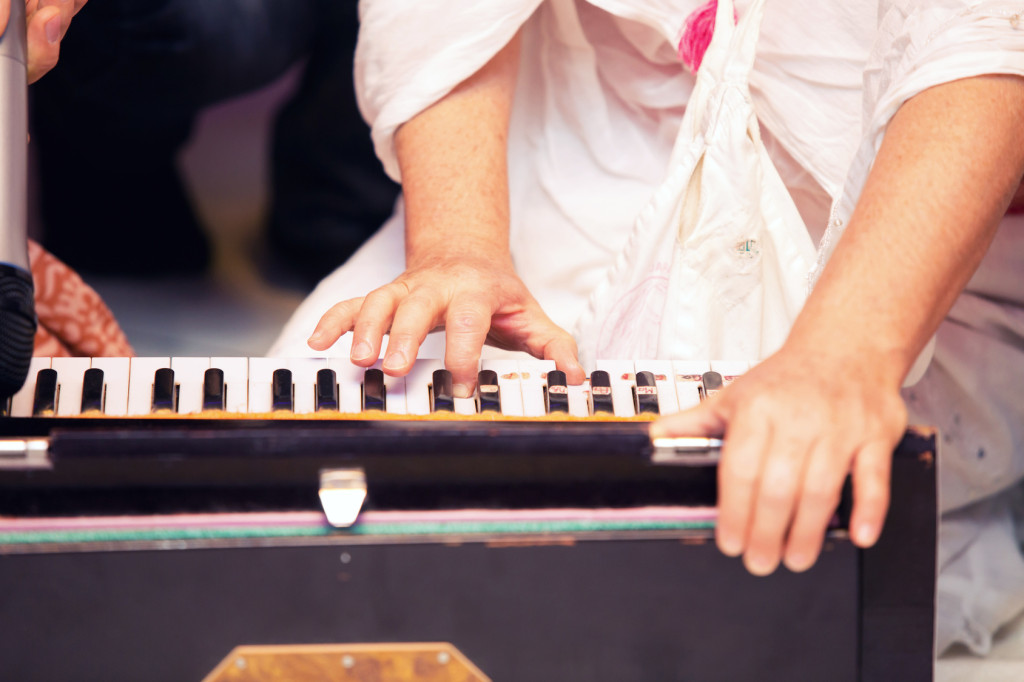 Indian harmonium, a traditional wooden keyboard instrument