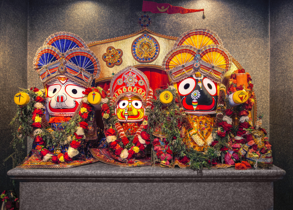 Jagannath idol with his elder brother Balabhadra and sister Subhadra, in Hindu Temple. Jagannath, believed to be an avatar of Lord Vishnu, is the Lord of Puri, the coastal town of Orissa in eastern India. The icon of Jagannath is a carved and decorated wooden stump with large round eyes and with stumps as hands, with the conspicuous absence of legs.