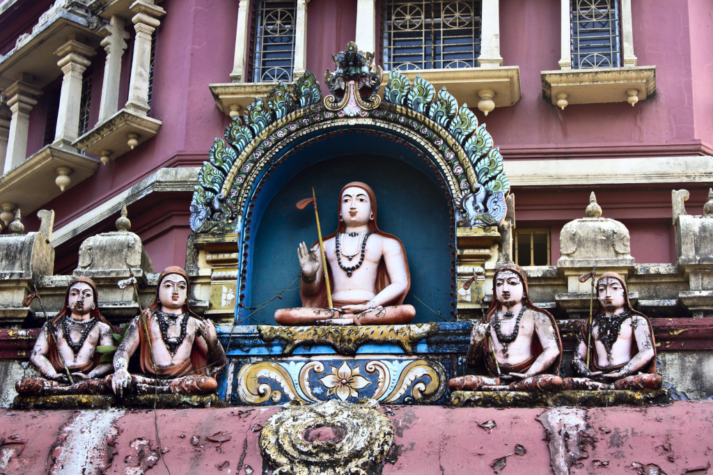 FEBRUARY 19, 2014, KALADY, KERALA, INDIA - Sculpture of the great ancient philosopher Adi Shankaracharya with his disciples at his birthplace