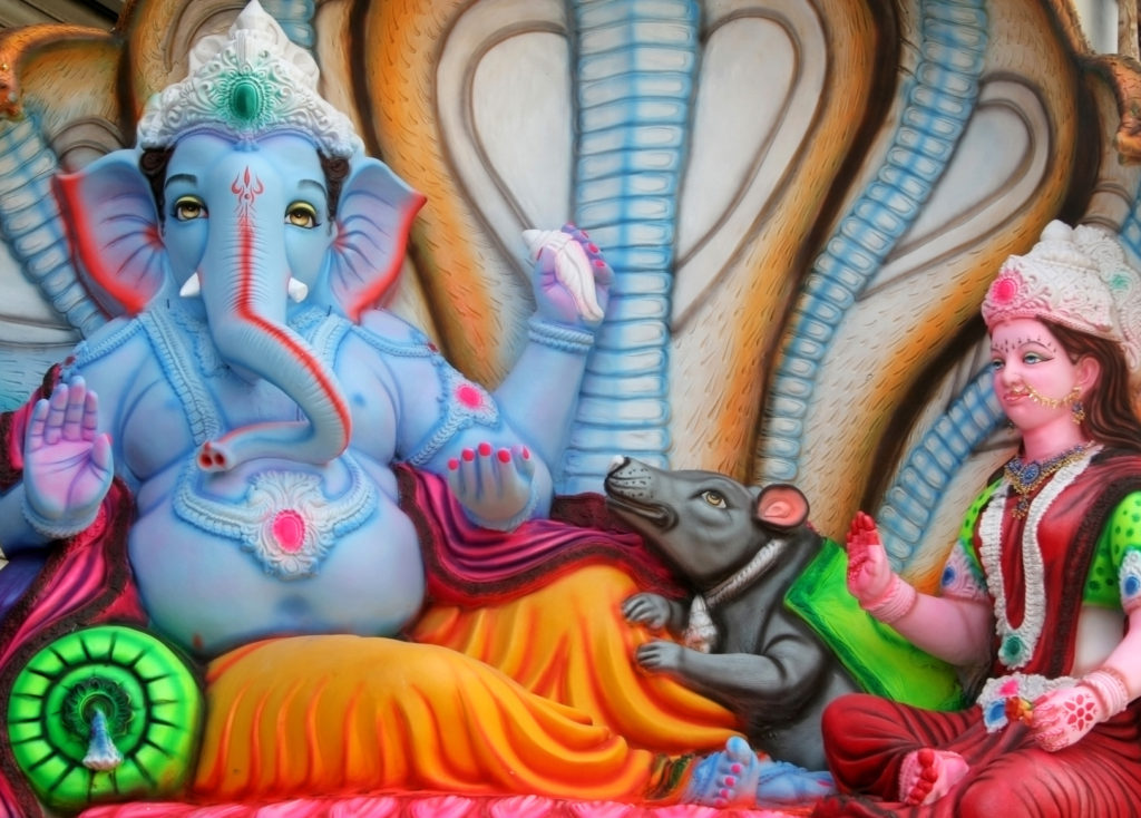 Closeup of Indian Hindu God Ganesha Idol for sale in the market