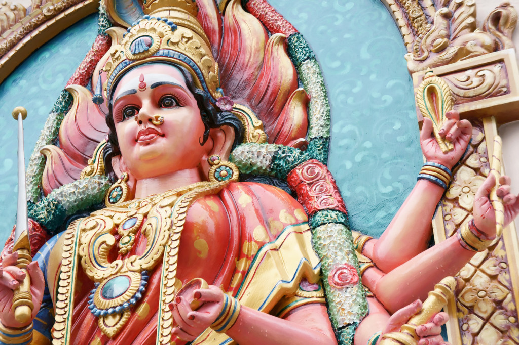 Hindu Goddess Durga right view close up.
