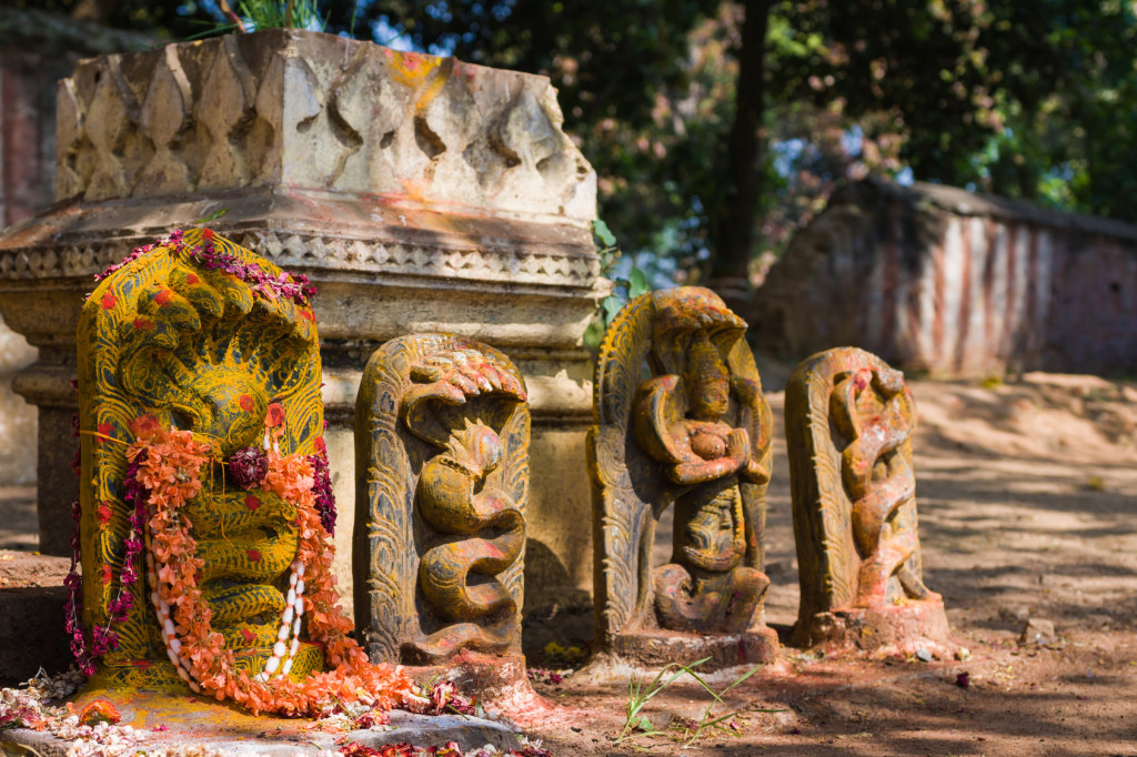 A row of Hindu Naga deities decorated with flowers and kumkum in South India.