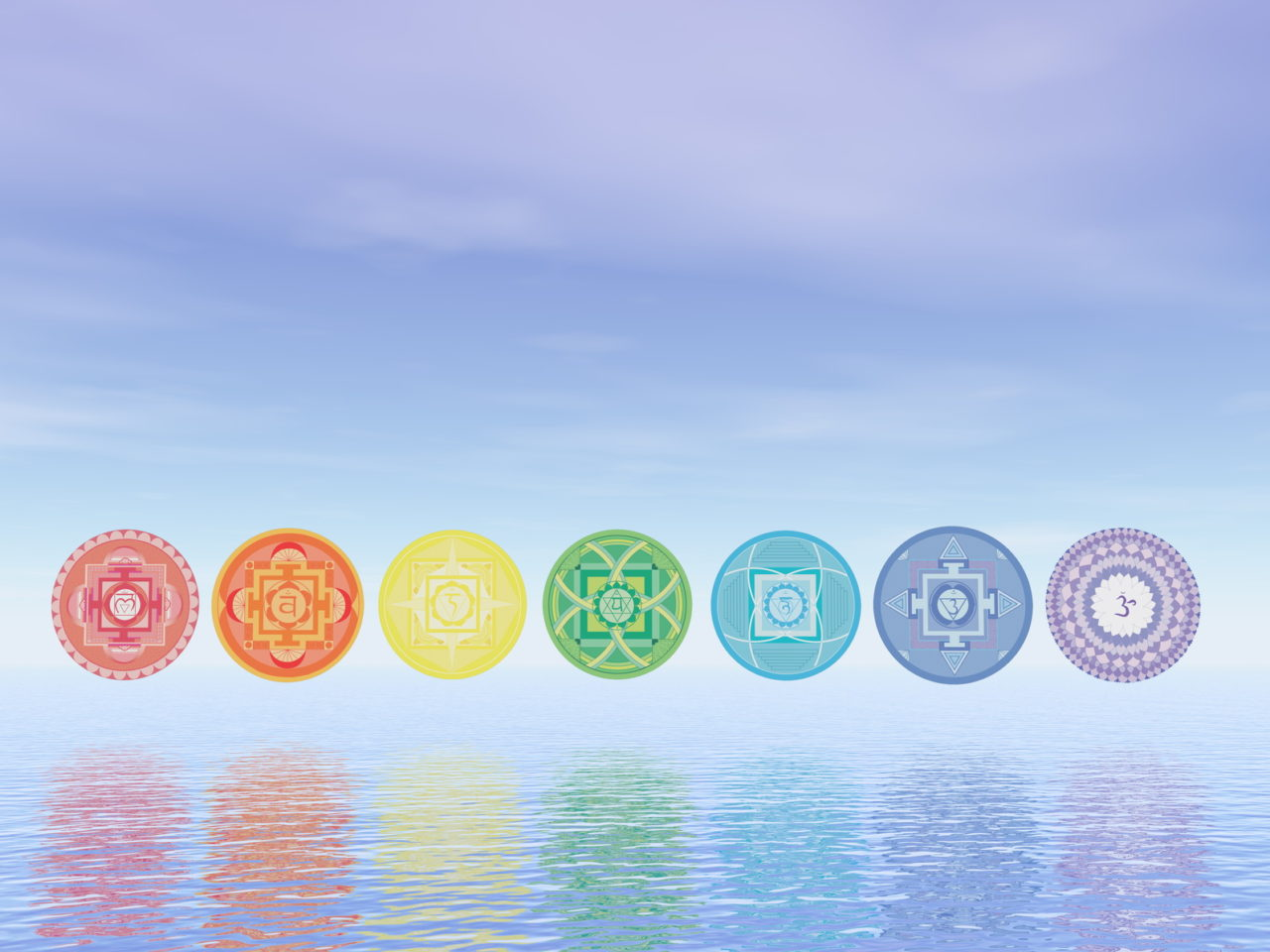 Seven chakra symbols line upon water in blue background - 3D render